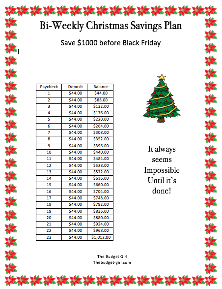 bi-weekly savings plan for Christmas