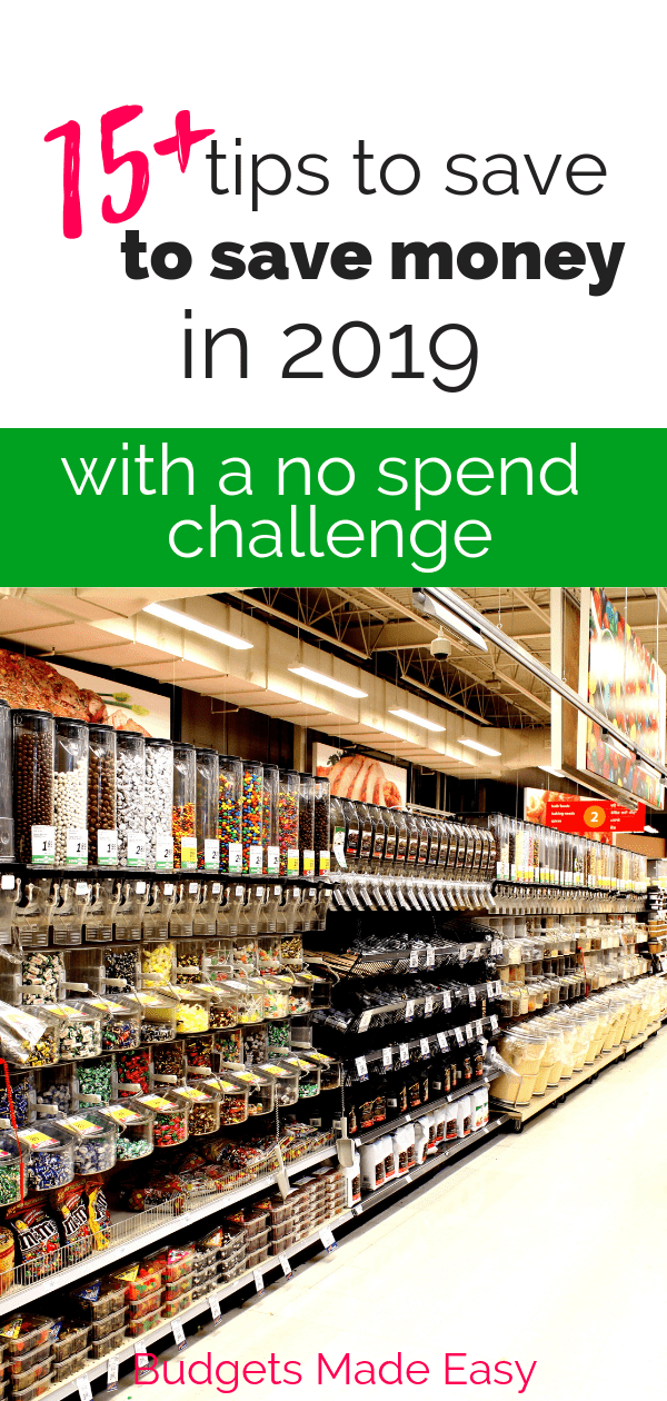 These simple tips for a no spend challenge will help you save money in 2019. Save money fast by cutting expenses and spending. #savemoney #nospendchallenge #finance