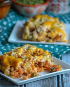 cheesy ground beed and rice casserole