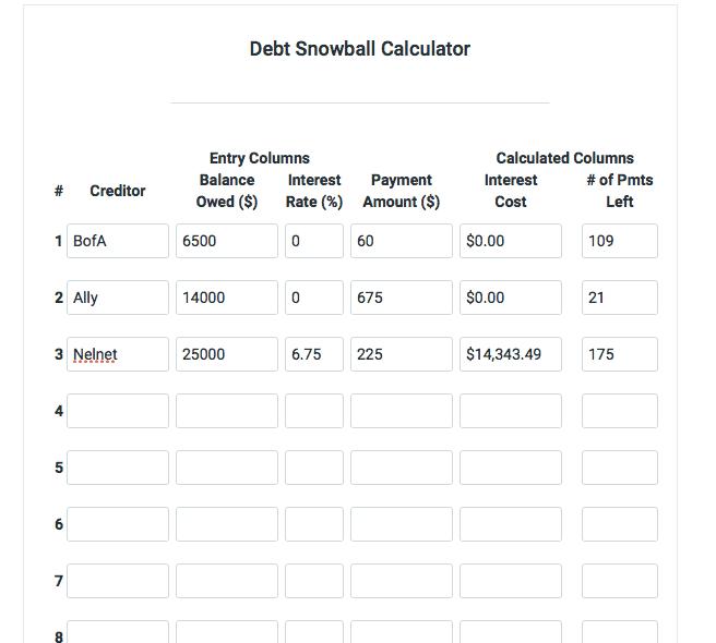 financial mentor debt snowball calculator