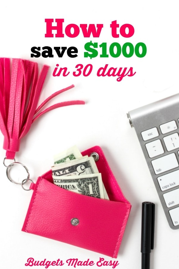how to save $1000 in 30 days