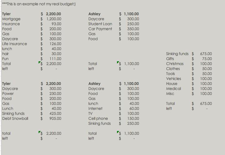 bi-weekly budget example