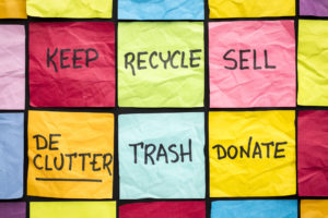 Declutter Concept Keep Recycle Trash Sell Donate Handwriting On Color Sticky Notes