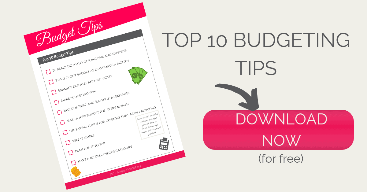 budget tips landing page