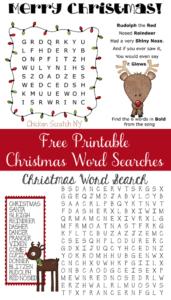 free christmas printable word search