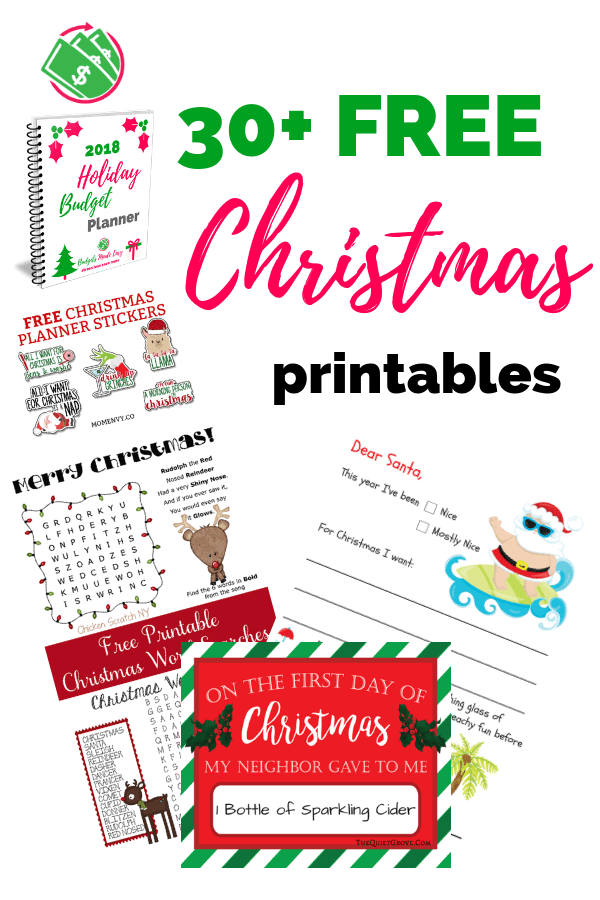 30+ free christmas printables including gift tags, stat boards, family activity ideas, crafts, savings plans, and planners. #christmas #free #printables #planner