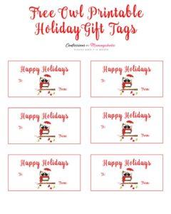 owl printable gift tag