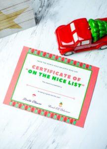 printable nice list certificate