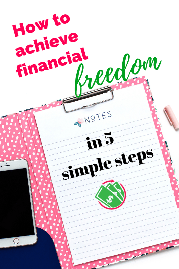 achieving financial freedom in 5 easy steps. These personal finance tips follow Dave Ramsey and his lessons to achieving financial peace. This advice will help you conquer debt, save for retirement even in your 20s, 30s, and 40s. You can achieve financial success by starting today! #finance #money #daveramse
