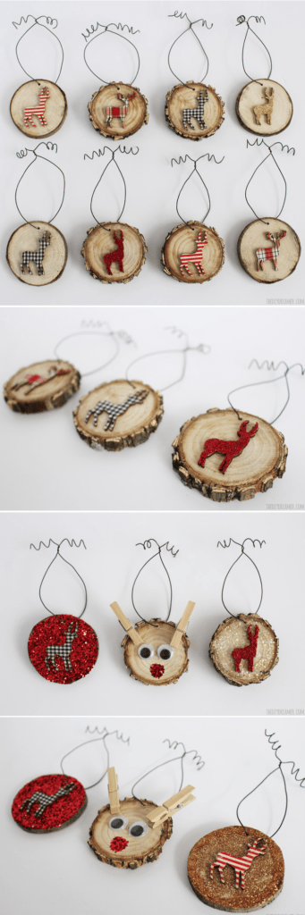 deer wood slice ornaments