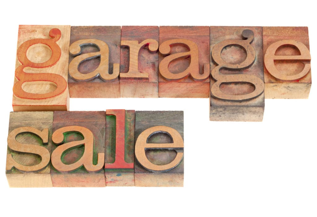 Garage Sale Words In Vintage Grunge Wood Letterpress Printing Blocks Isolated On White