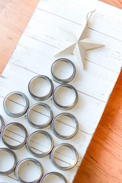 DIY christmas crafts mason jar lid tree