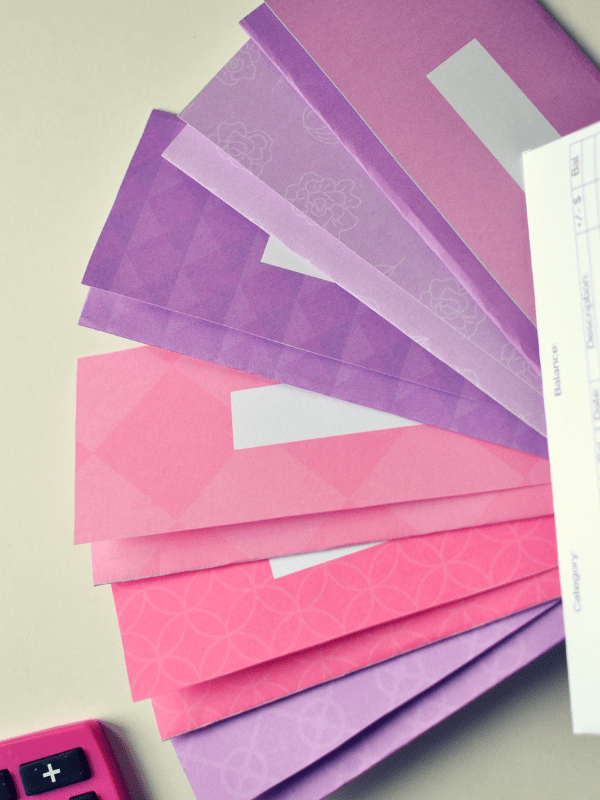 pink and purple cash envelopes