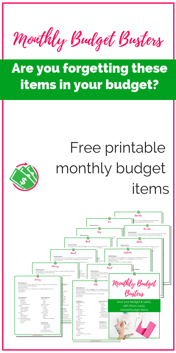 These monthly unexpected expenses will help you stick to your budget and save your sanity. These budget category items are simple ideas to save money. | ideas | families | Dave Ramsey | printable | monthly | tips | frugal living | track | #budget #printable #daveramsey