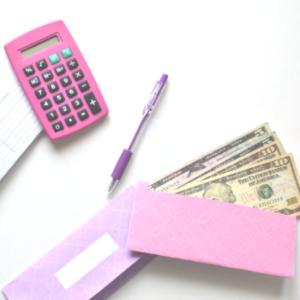pink and purple cash envelopes