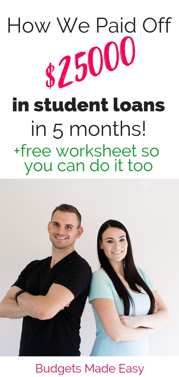 How this couple paid off $25000 in student loans fast by working online. Paying off debt fast with a budget and frugal living. #debttips #frugal #studentloans