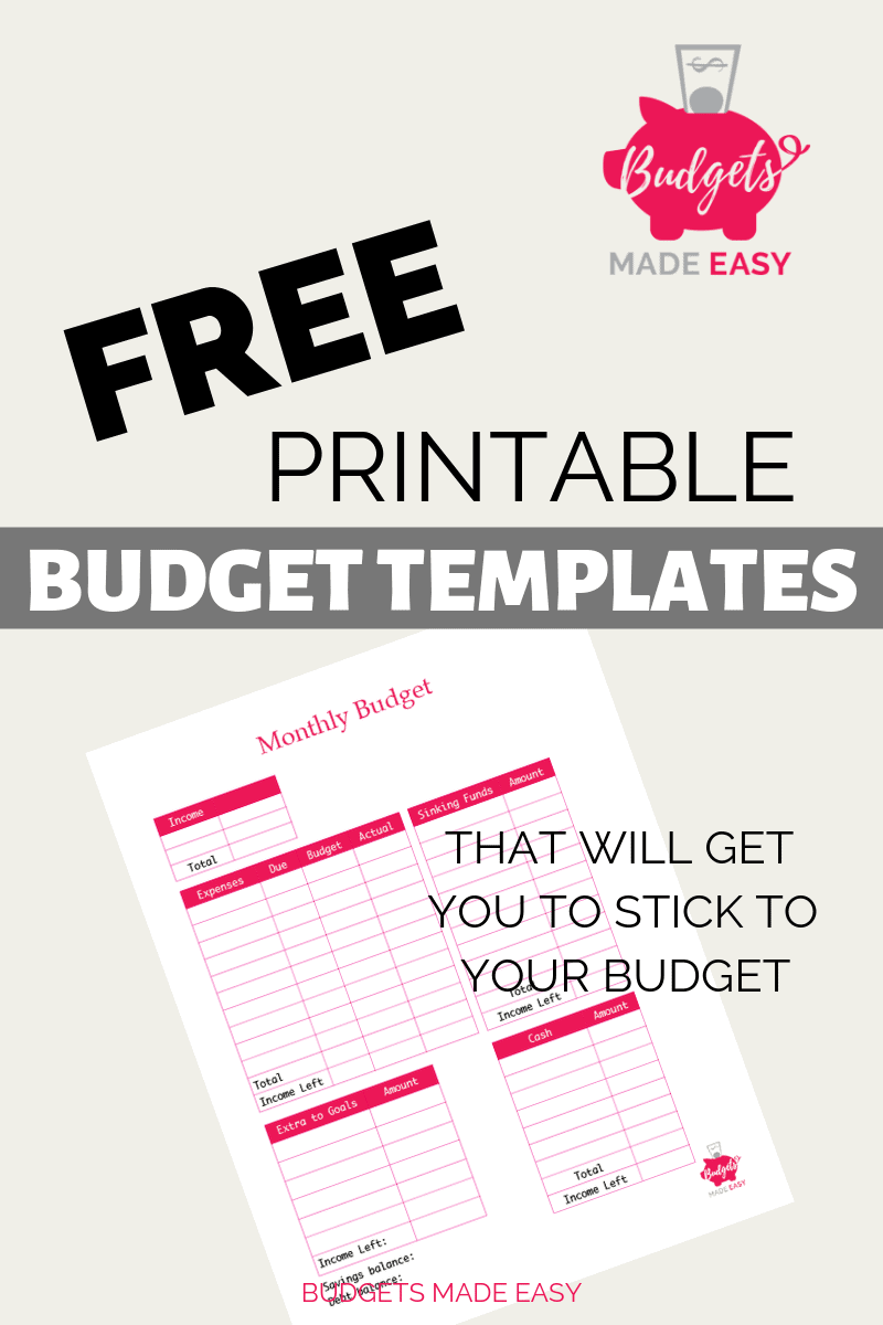 Grab your free printable monthly budget templates. These simple budget templates are easy to use and stick to your budget. #budgeting #budgets #freeprintables