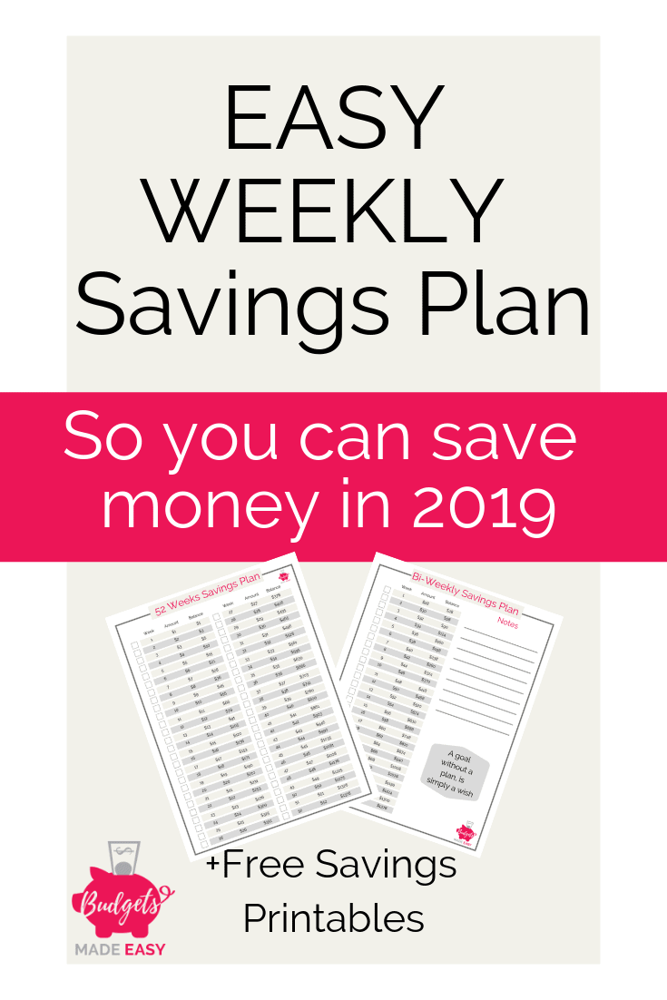 FREE printable weekly savings plans to save $1000 or $1500. These savings challenges are perfect for weekly or bi-weekly saving. Plus get them all for free! #printable #savingsplan #savingschallenge