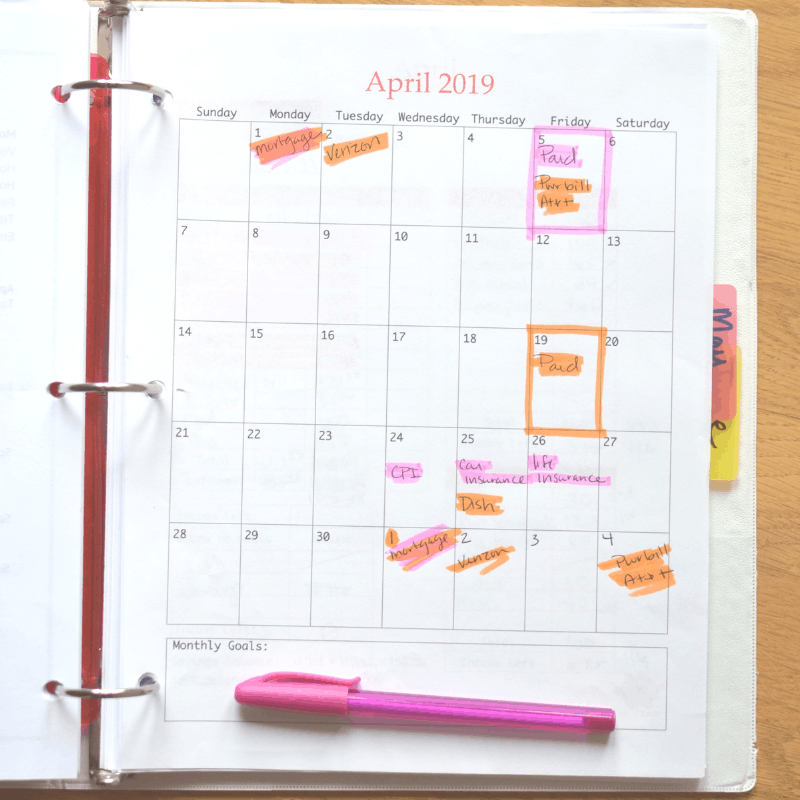 budget calendar for the month of April example