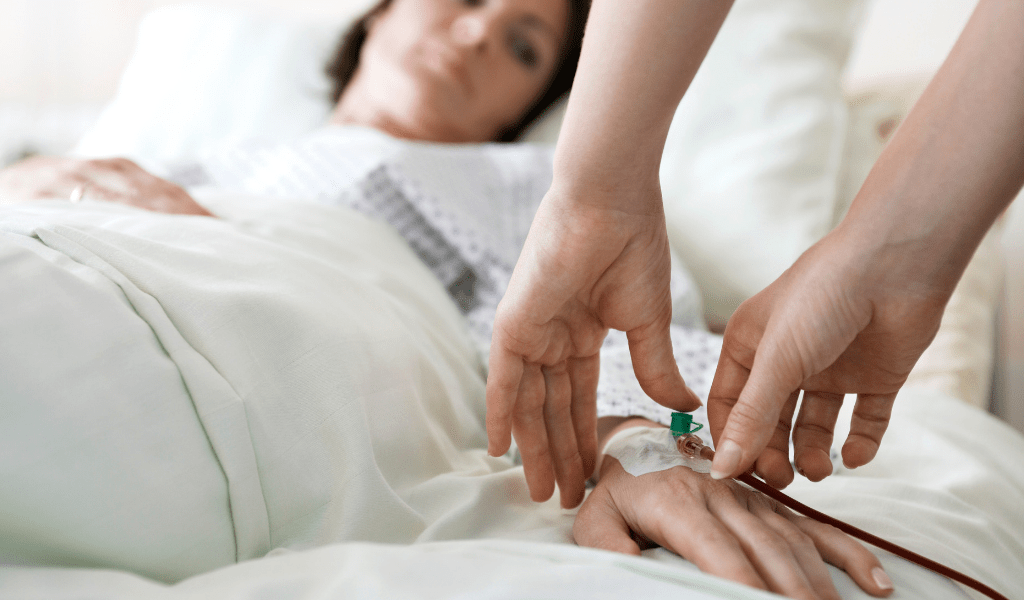 young woman in hospital bed