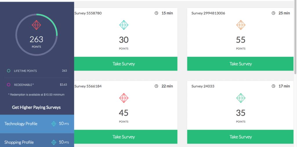 survey junkie dashboard