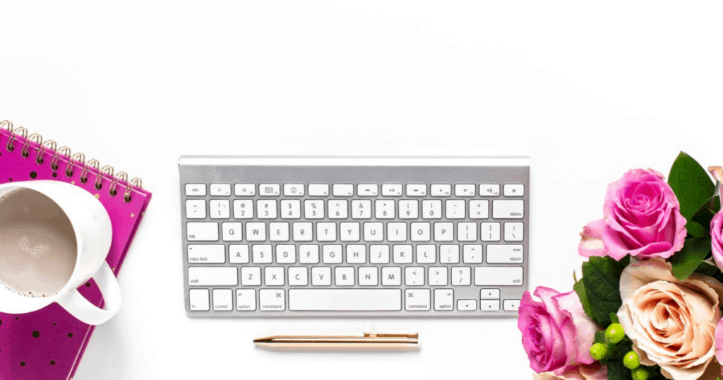 pink flowers and keyboard