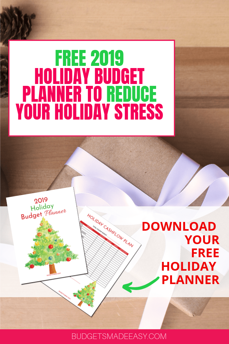 2019 FREE PRINTABLE HOLIDAY BUDGET PLANNER. Reduce the stress and overwhelm over the holidays by making your plan and sticking to your Christmas budget!