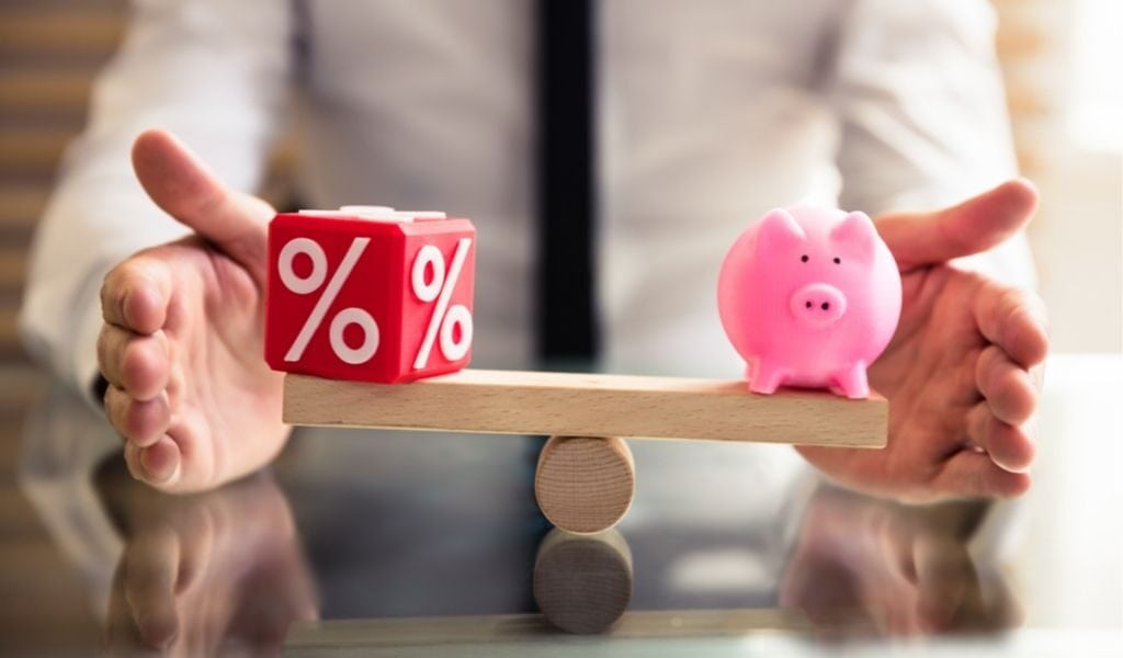 piggy bank and percentages