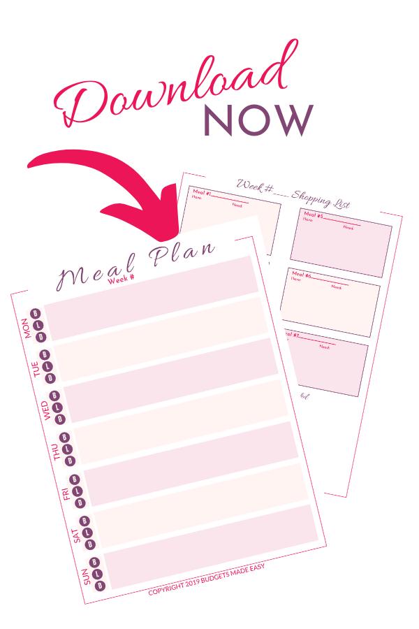 free meal planning sheet