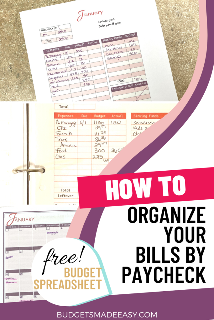How to manage your money better by organizing your bills by paycheck. Plus a free money management printables and templates for a monthly budget system. Even if you follow Dave Ramsey. Budgeting by paycheck just got easier with this paycheck budget spreadsheet that's free!