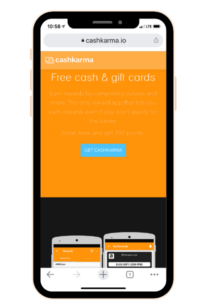 Smart phone with website Cash Karma shown on the screen