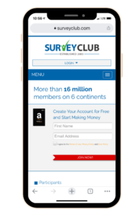 Smart phone with website Survey Club shown on the screen