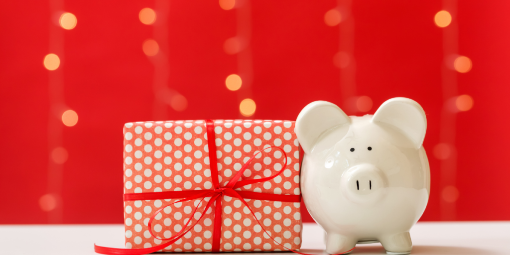 Piggy bank with a free Christmas gift