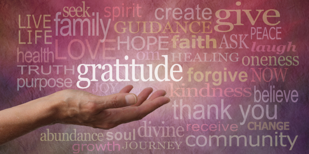 Many words on a purple background with gratitude being the keyword in white hovering over a hand reminding us have gratitude, change money mindset and secure a financial future.