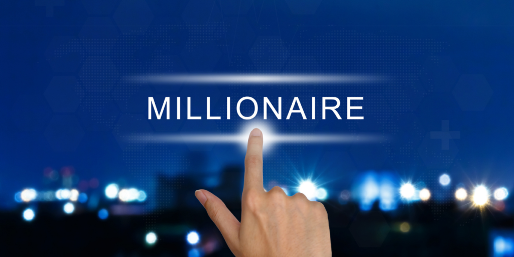 How to become a millionaire with a finger touching the word millionaire.