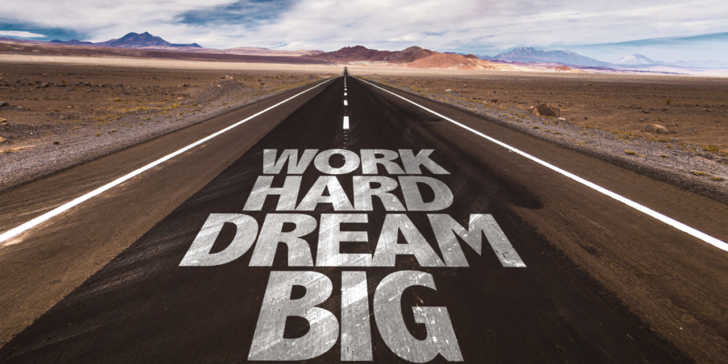 "The road to reaching financial goals is paved with the words ""work hard dream bug."""