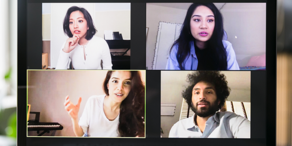 A group of online freelancers consulting with each other about their side hustle jobs.