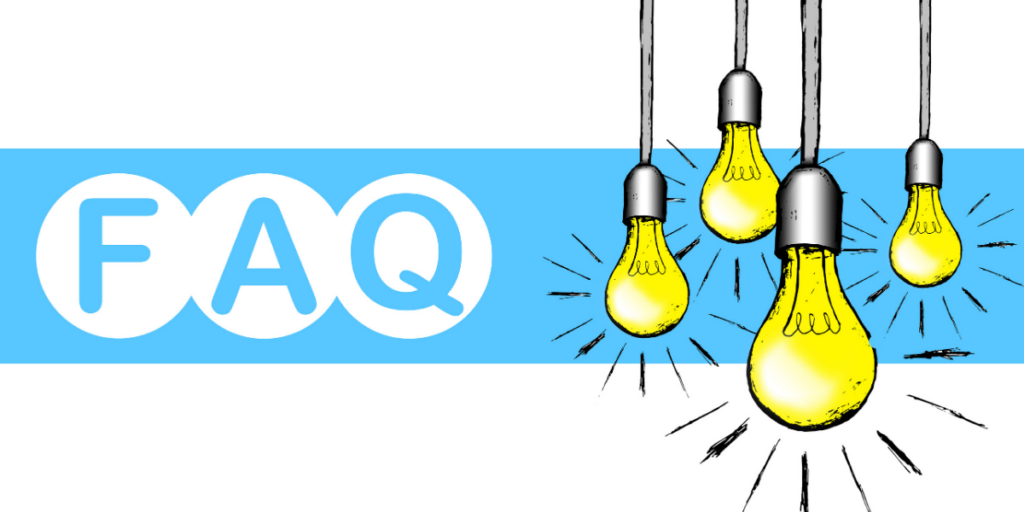 Frequently asked questions image with light bulbs