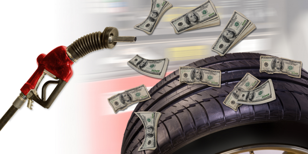 Gas pump nozzle with money flying out of it over a car tire.