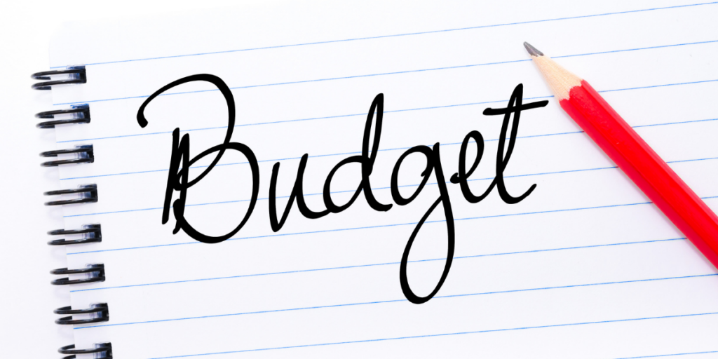 Creating a written budget and determining needs vs wants when spending income.