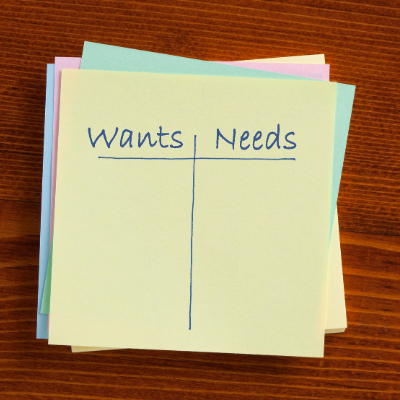 Identifying Your Wants Vs Needs So You Can Save Money!